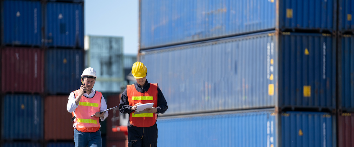 Two workers looking a containers at a port