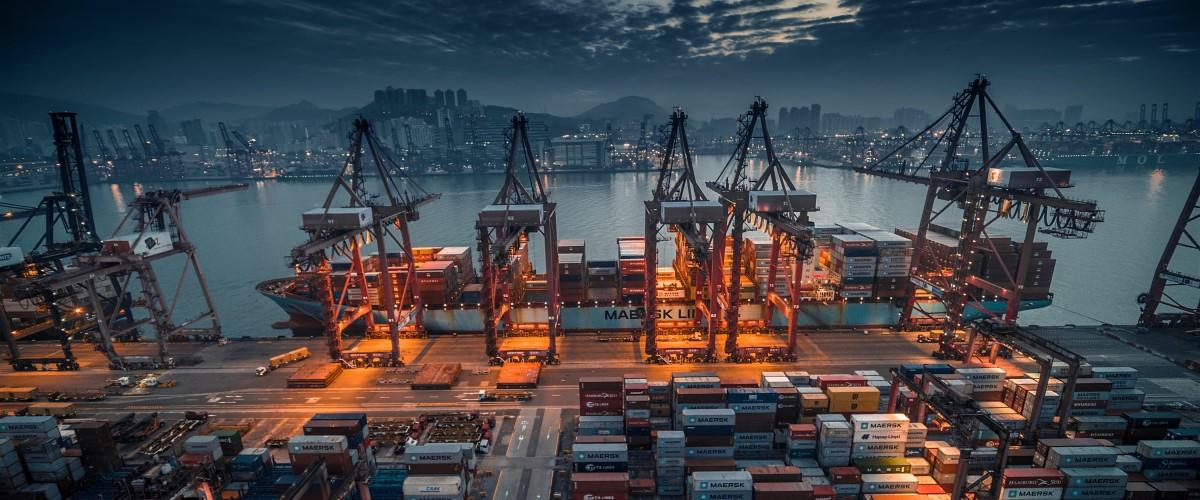 Ship docking at a port